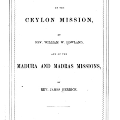 Historical Sketch of the Ceylon Mission and Madura and Madras Missions