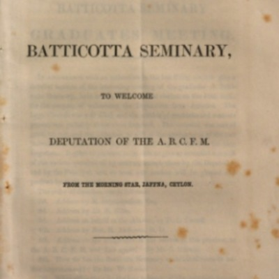 Meeting of Graduates of the Batticotta Seminary, to Welcome Deputation of the A.B.C.F.M.